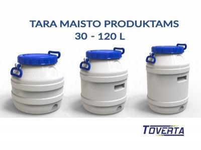 Maistinės talpos, plastikinės statinės 10 - 120 l
