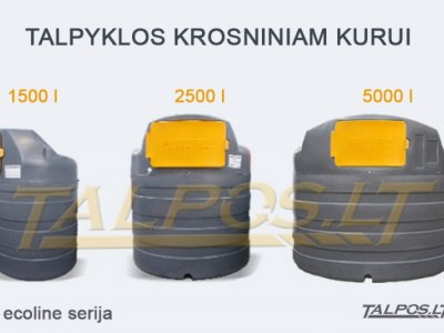 Plastikinės dvisienės talpyklos kurui 1500-10000 l talpos
